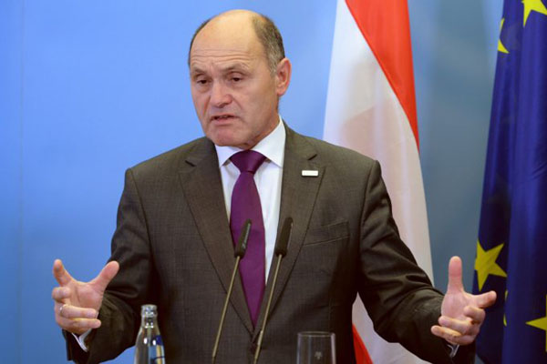 Austrian Interior Minister Wolfgang Sobotka attends a joint press conference with his German counterpart in Potsdam, eastern Germany, on April 29, 2016. / AFP / dpa / Ralf Hirschberger / Germany OUT (Photo credit should read RALF HIRSCHBERGER/AFP/Getty Images)